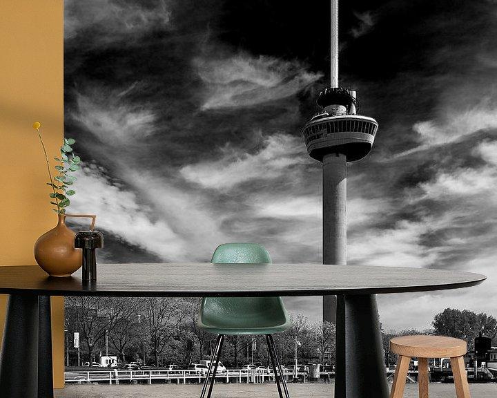 Sfeerimpressie behang: Euromast Rotterdam zwart / wit van Anton de Zeeuw