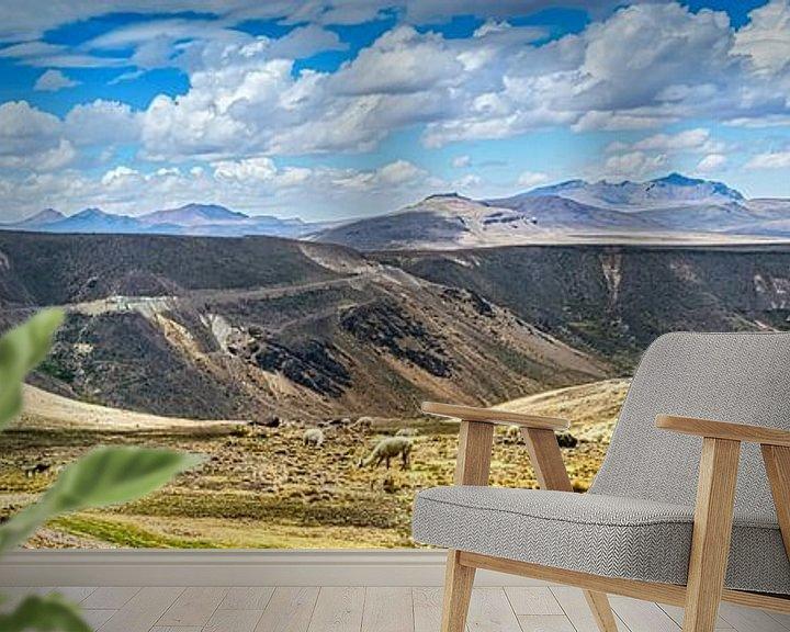 Sfeerimpressie behang: Kudde lama's op de hoogvlakte van de Andes, Peru van Rietje Bulthuis