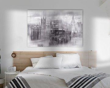 City-Art LONDON Westminster Collage | Monochrom von Melanie Viola
