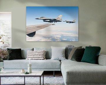 Twee Nederlandse F-16 gevechtsvliegtuigen van Kris Christiaens