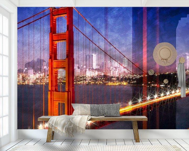 Sfeerimpressie behang: City Art Golden Gate Bridge Composing van Melanie Viola