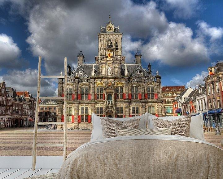 Sfeerimpressie behang: Stadhuis van Delft van Jan Kranendonk