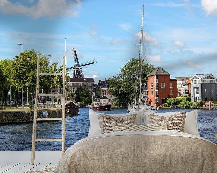 Sfeerimpressie behang: zeilboot en windmolen van Erik Koks