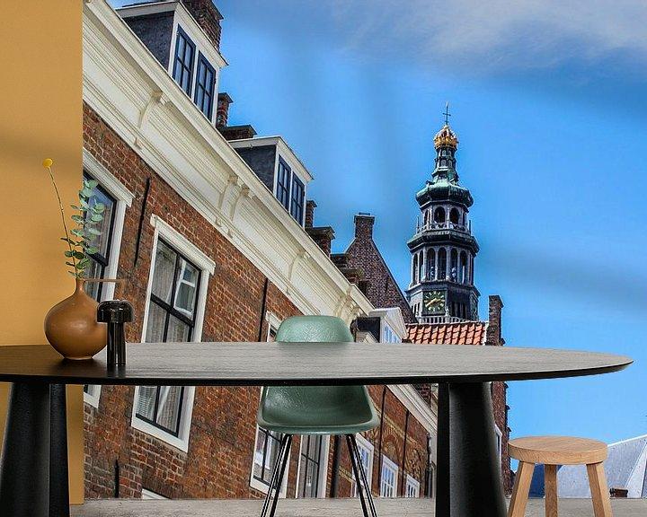 Sfeerimpressie behang: Nederlandse skyline Sint Bavokerk - Haarlem van Erik Koks