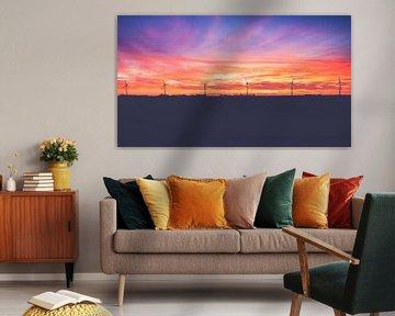Zonsondergang in de Noordoostpolder van Fotografiecor .nl