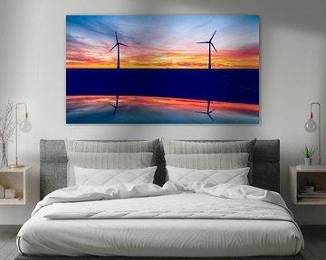Windmolens bij zonsondergang van Fotografiecor .nl