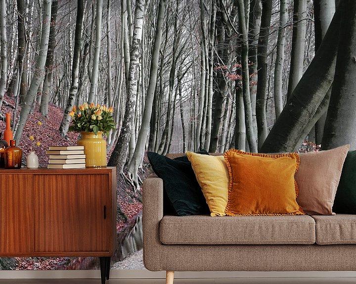 Sfeerimpressie behang: Winter bos van Lily Ploeg