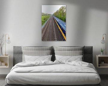 Rijdende trein nabij Onnen