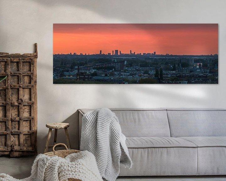 Sfeerimpressie: De skyline van Den Haag tijdens zonsondergang van MS Fotografie | Marc van der Stelt