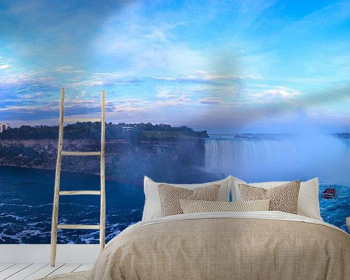 Sfeerimpressie behang: Panorama uitzicht Niagara watervallen van Timo  Kester