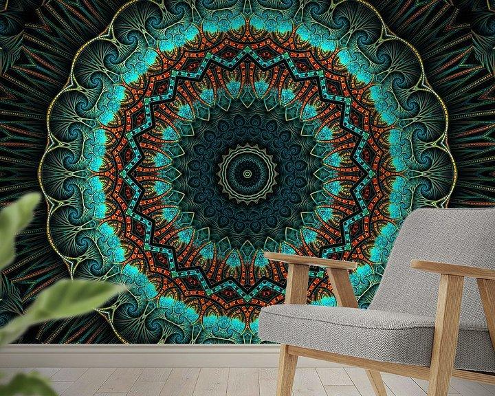 Sfeerimpressie behang: Mandala-Illusion grün van Marion Tenbergen