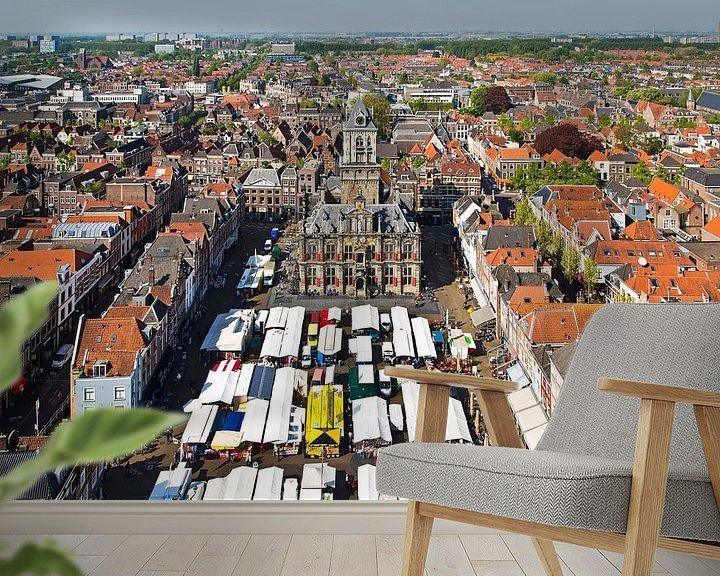 Sfeerimpressie behang: Markt Delft van Anton de Zeeuw