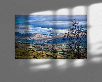Vue sur la vallée, Lake County, Nouvelle-Zélande sur Rietje Bulthuis