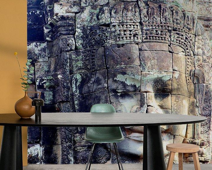 Beispiel fototapete: Verwittertes Gesicht, Angkor Thom von Inge Hogenbijl