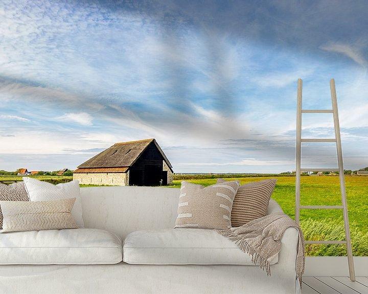 Sfeerimpressie behang: schapenboet Texel Zuid-Haffel van Texel360Fotografie Richard Heerschap