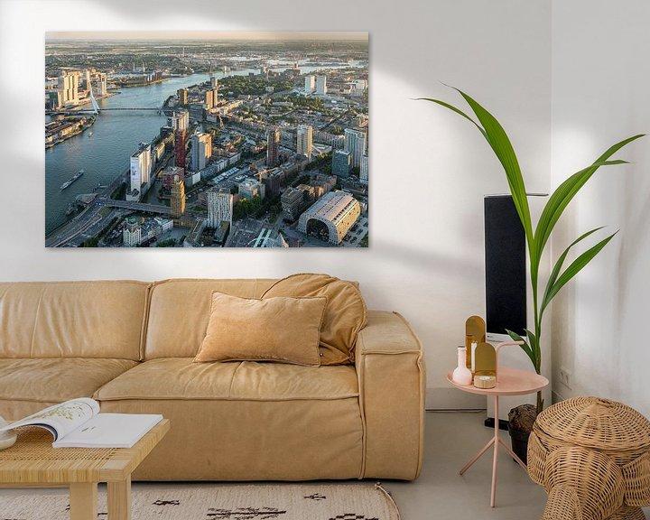 Sfeerimpressie: Luchtfoto centrum Rotterdam, Skyline en Martkhal van Prachtig Rotterdam