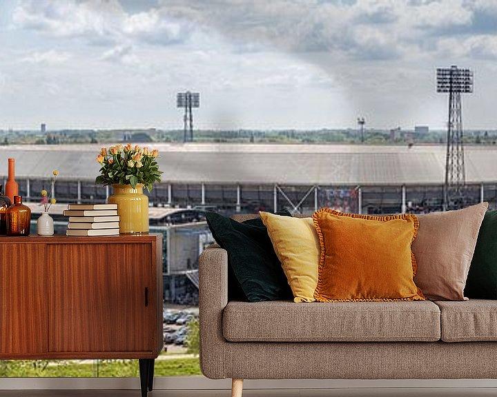 Sfeerimpressie behang: Stadion Feyenoord / De Kuip Kampioenswedstrijd (panorama) van Prachtig Rotterdam