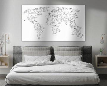 Geometrische Weltkarte | Lineare Zeichnung | Schwarz auf Weiß von Wereldkaarten.Shop