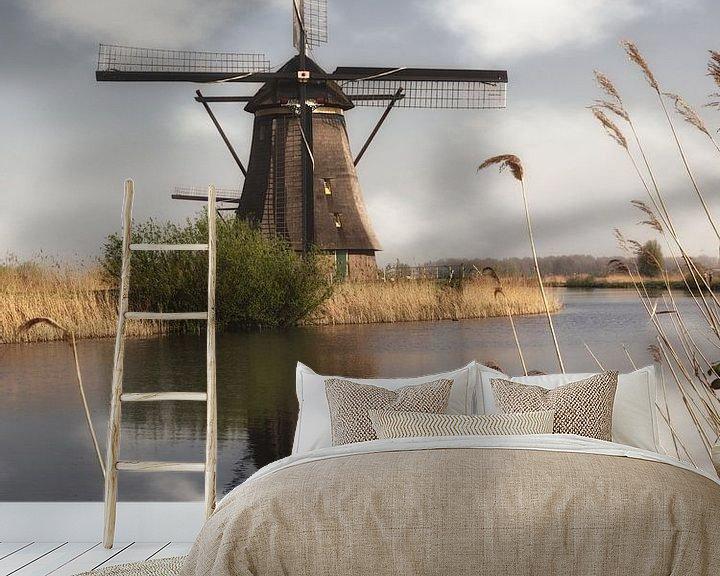 Sfeerimpressie behang: Een molen in Kinderdijk van Tim Abeln