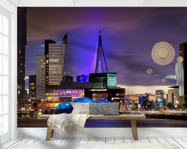 Sfeerimpressie behang: Rotterdam Nights van Vincent Fennis