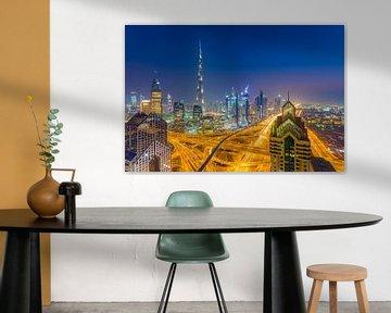 Dubai by Night - Burj Khalifa en Downtown Dubai - 2 van Tux Photography