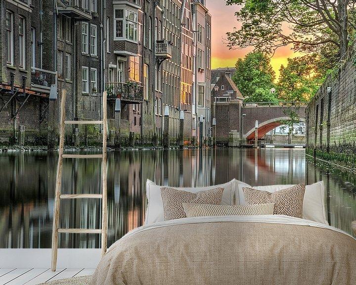 Sfeerimpressie behang: Avond in Dordrecht van Frans Blok