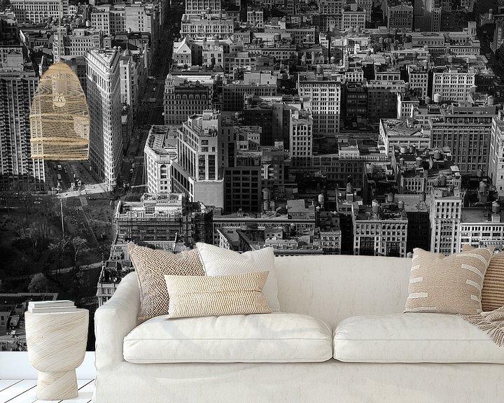 Sfeerimpressie behang: Manhattan met het Flatiron gebouw in New York (zwart-wit) van Mark De Rooij