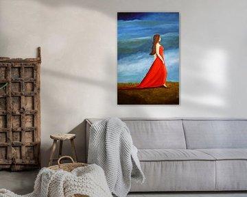 Frau im roten Kleid von Andrea Meyer