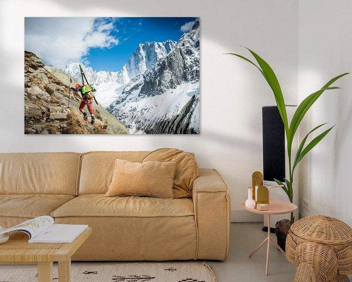 Sfeerimpressie: Climber with Ski's Approaching Grand Jorasses   van Ruben Dario