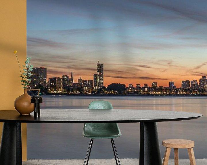 Sfeerimpressie behang: De skyline van Rotterdam tijdens zonsondergang van MS Fotografie   Marc van der Stelt