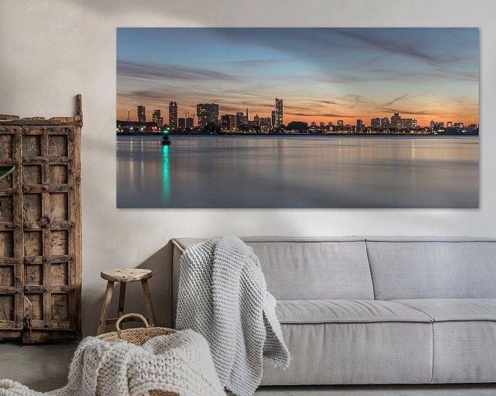 Sfeerimpressie: De skyline van Rotterdam tijdens zonsondergang van MS Fotografie   Marc van der Stelt