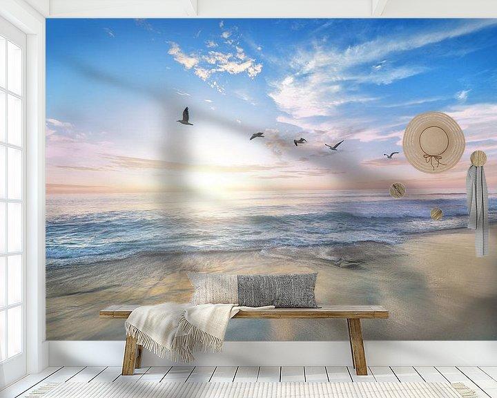 Sfeerimpressie behang: Strand en meeuwen van Fela de Wit
