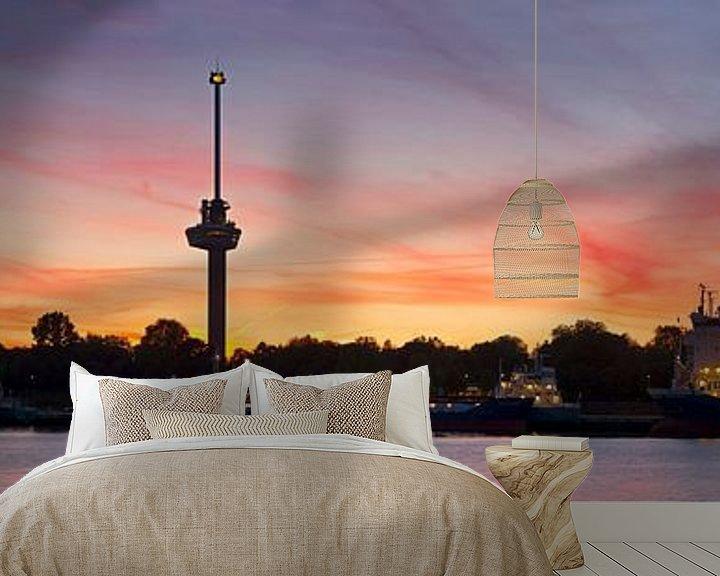 Sfeerimpressie behang: Panorama Euromast Rotterdam vlak na zonsondergang van Anton de Zeeuw