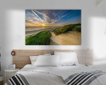 Strand Paal 15 Duin Zonsondergang Texel  van Texel360Fotografie Richard Heerschap