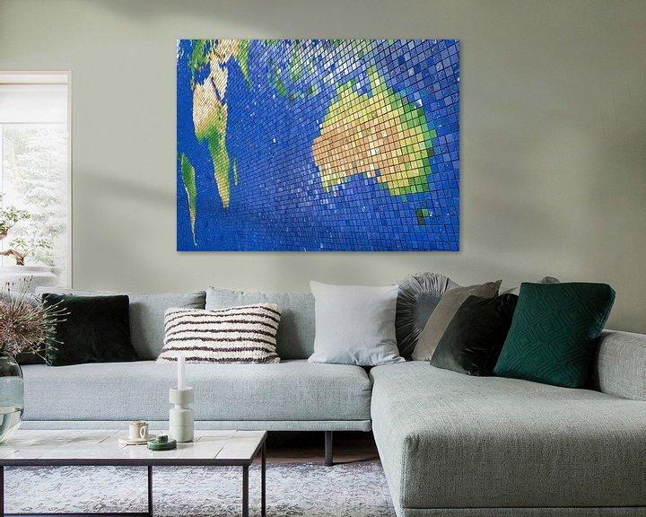 Sfeerimpressie: Wereldkaart mozaïek-: Australisch perspectief van Frans Blok