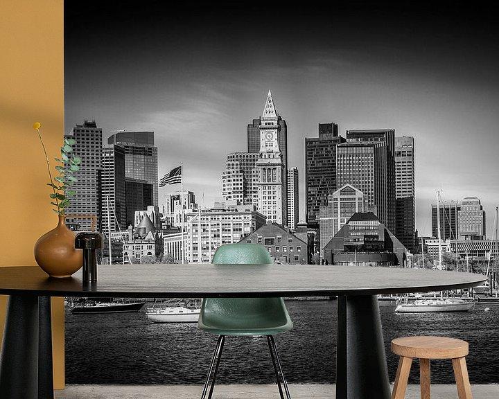 Sfeerimpressie behang: BOSTON Skyline North End en het Financial District | monochroom van Melanie Viola