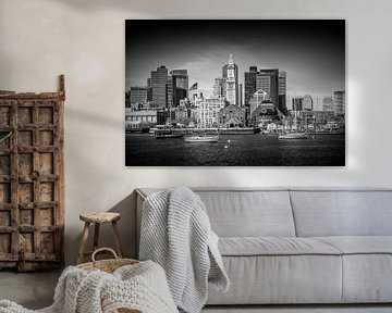 BOSTON Skyline North End en het Financial District | monochroom van Melanie Viola