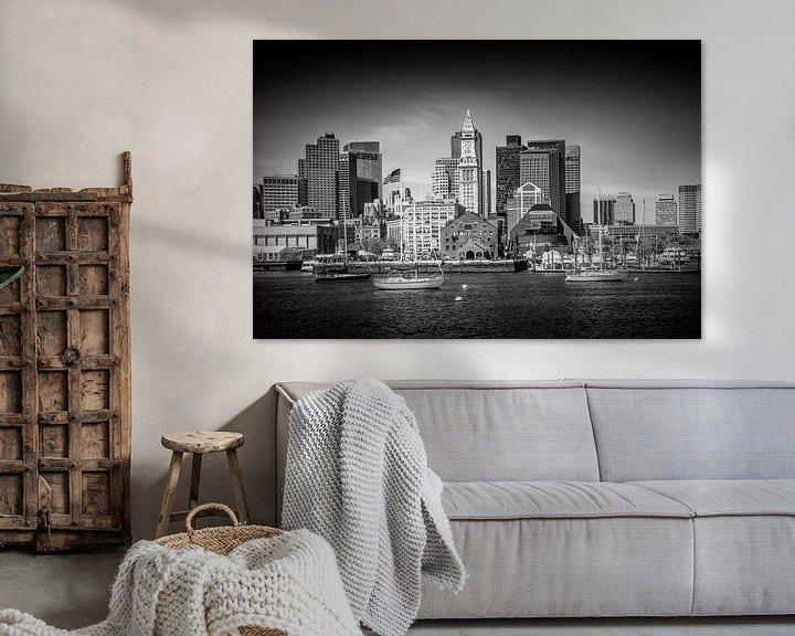 Sfeerimpressie: BOSTON Skyline North End en het Financial District | monochroom van Melanie Viola
