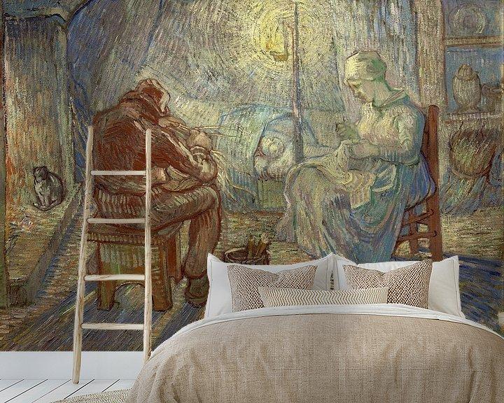 Sfeerimpressie behang: Vincent van Gogh. nacht (naar Millet)
