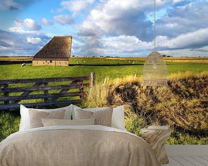 Sfeerimpressie behang: Schapenboet Texel nabij De Hoge Berg van Texel360Fotografie Richard Heerschap