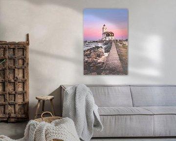 Lighthouse at sunset (Marken) van Alessia Peviani