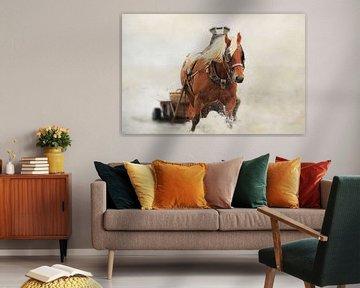 Paard met wagen in het water sur LHJB Photography