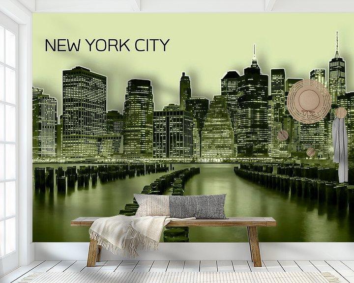 Beispiel fototapete: MANHATTAN Skyline   Graphic Art   gelb von Melanie Viola