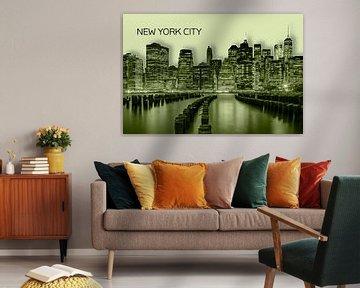 MANHATTAN Skyline | Graphic Art | gelb von Melanie Viola