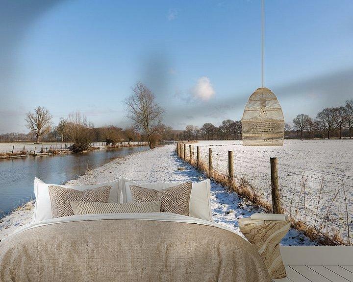 Sfeerimpressie behang: Winters landchap langs de Kromme Rijn van Marijke van Eijkeren