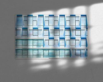 Abstracte gevel in blauw von Greetje van Son