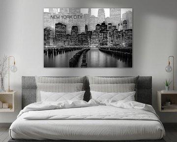 MANHATTAN Skyline | Graphic Art | weiß von Melanie Viola