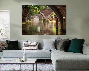 Vue sur le Hamburgerbrug, le Weesbrug, le Smeebrug, le Geertebrug et le Vollersbrug à Utrecht. sur De Utrechtse Grachten