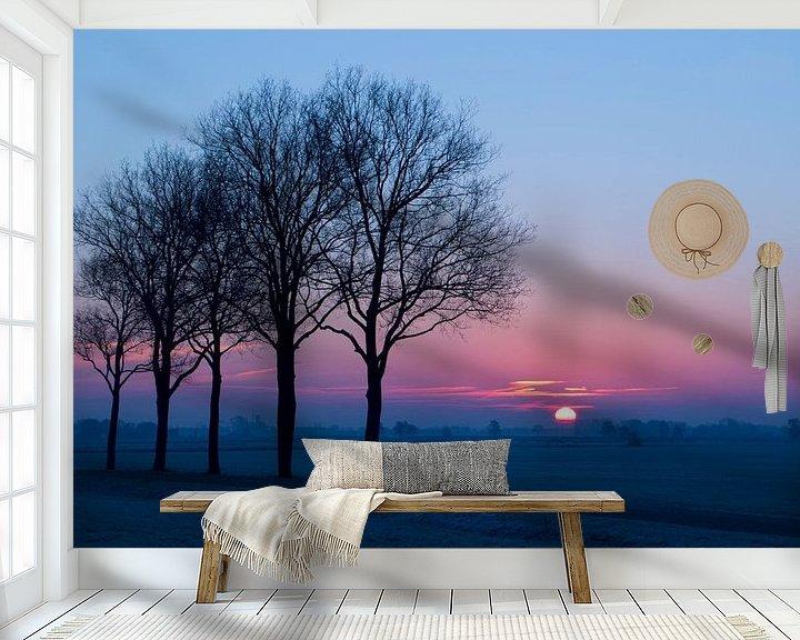 Sfeerimpressie behang: Zonsopgang in Steenwijkerwold van Hilde van den Berg