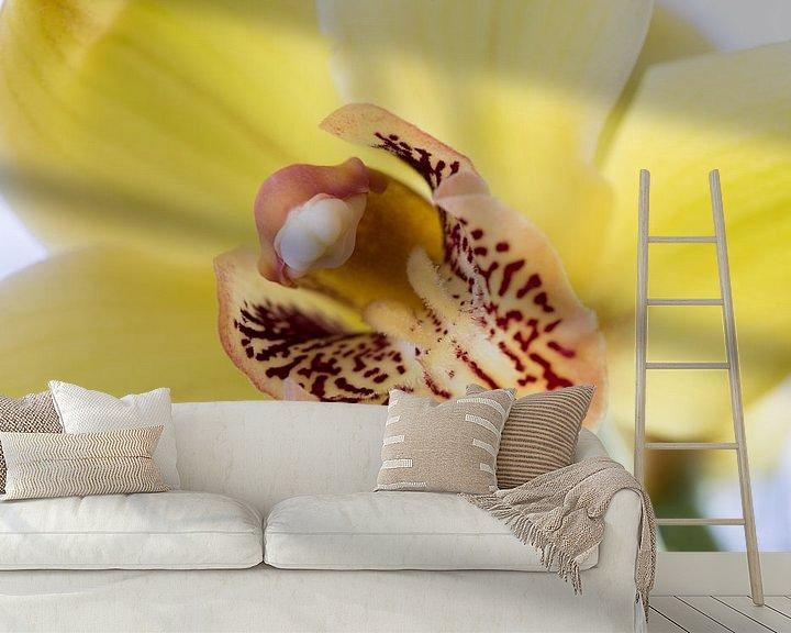 Sfeerimpressie behang: Gele Orchidee van Ronne Vinkx